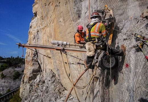 Quarry Rockfall Drape Installation