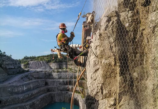 Quarry Rockfall Drape Installation