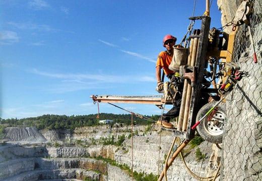 Quarry Rockfall Drape Installation, Rockfall Mitigation
