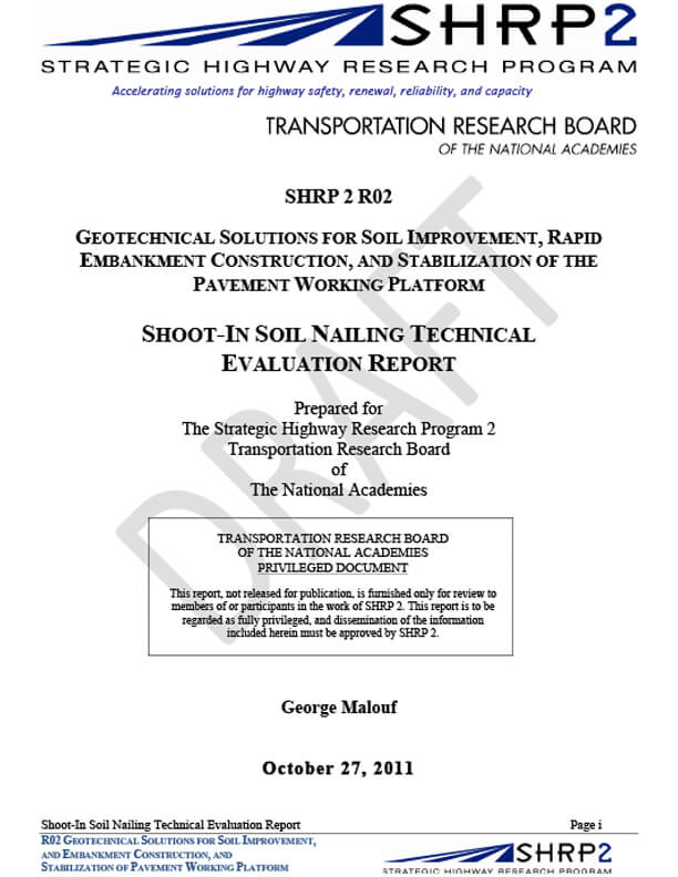 Shoot-in soil nailing technical evaluation report