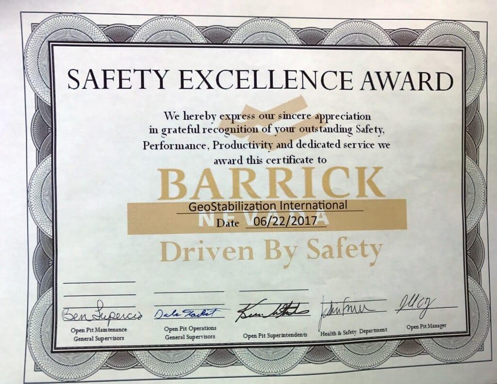 Barrick Mine Safety Award 2017